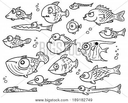 Set or collection of various cute vector Cartoon fish designs