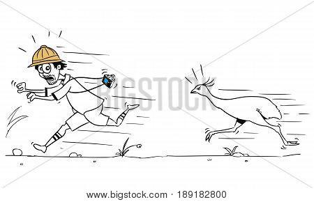 Cartoon vector male tourist is running away from large ostrich bird pursuing him