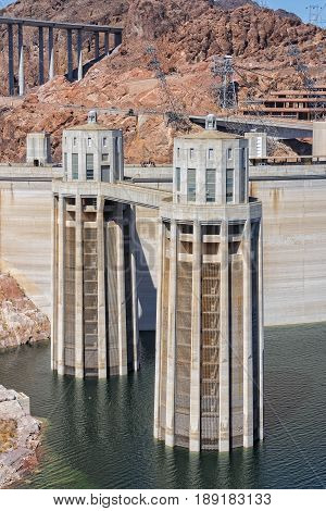 Hoover Dam Intake Towers Viewed From The Arizona Side