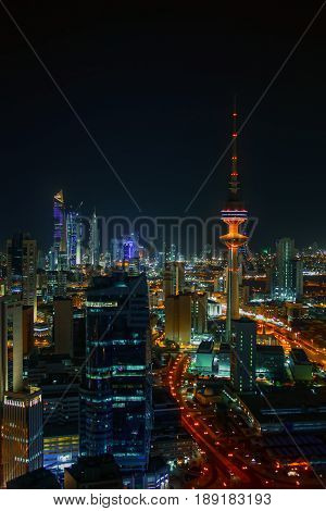 Night Time In The Heart Of Kuwait City