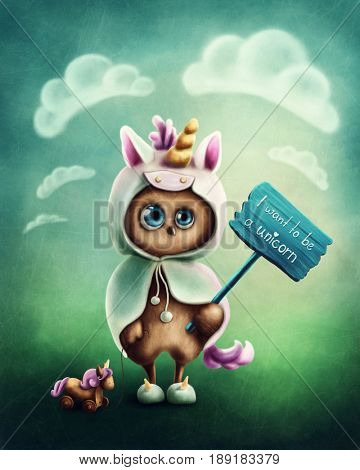 Funny little owl dressed like a unicorn