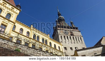 Unesco World Heritage Clock tower in Sighisoara Transylvania Romania