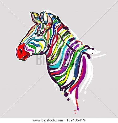 hand drawn color zebra on grey background. design for adults, poster, print, t-shirt, flyers. sketch. vector eps 8.
