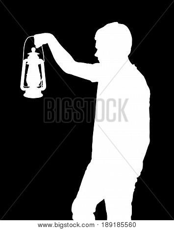 Inverted Silhouette of a teenage boy holding up lantern