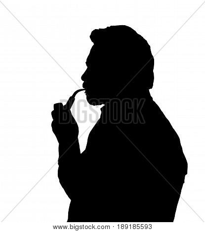 Silhouette Of Bearded Man Smoking Pipe Thinking