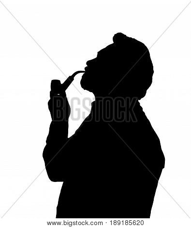 Silhouette Of Bearded Man Smoking Pipe Looking Up
