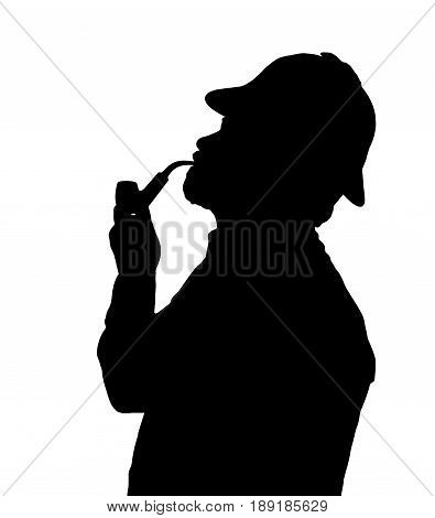 Silhouette Of Bearded Man Smoking Pipe With Sherlock Hat Looking Up