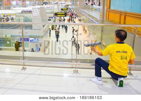 Airport Cleaning Service At Work