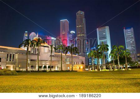 Singapore Parliament Building At Night