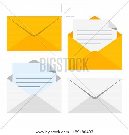 Set of icons with a picture of a closed letter. Paper document enclosed in an envelope. Delivery of correspondence or office documents. Vector illustration isolated on white background