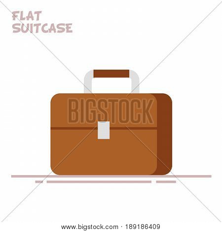 Suitcase or briefcase isolated on white background. Bag of a businessman or businessman. Vector Flat illustration. EPS10.