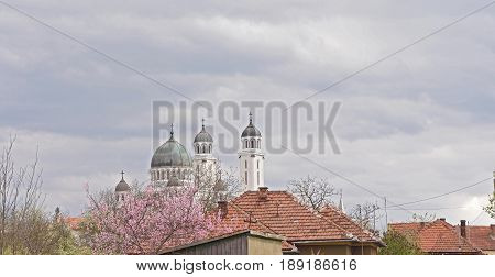 roofs and Cathedral in Ghelari Hunedoara County Transylvania Romania