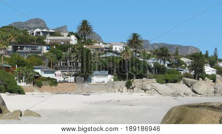 CLIFTON, CAPE TOWN, SOUTH AFRICA, WITH BEACH IN FORE GROUND AND HOUSES AND VEGETATION IN TH BACK GROUND