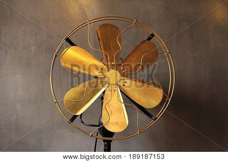 Antique  fan electric ventilator with vintage style. Vintage fan concept.