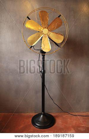 Antique  fan electric ventilator with vintage style. Vintage fan concept.