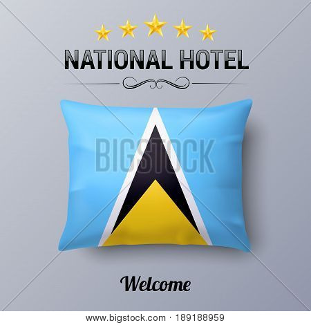 Realistic Pillow and Flag of Saint Lucia as Symbol National Hotel. Flag Pillow Cover with flag design
