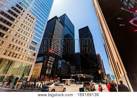 Toronto, Ontario, Canada, down town, May 20, 2017, nice beautiful view of old retro and modern stylish architectural buildings in Toronto down town area with people walking on the street on sunny day