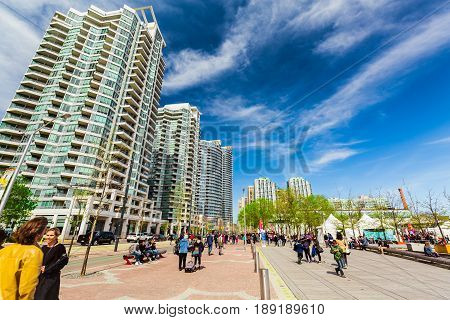Toronto, Ontario, Canada, Harbourfront, down town, May 20, 2017, amazing beautiful view of harbourfront, down town area with modern stylish buildings and people enjoying their s sunny weekend time