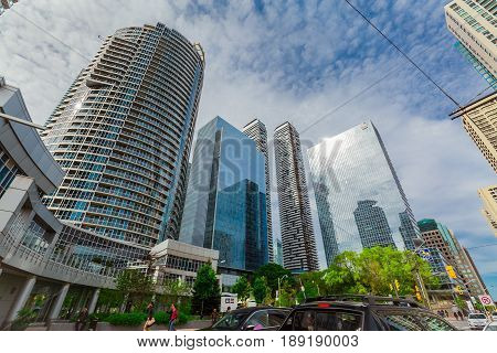 Toronto, Ontario, Canada, Harbourfront, down town, May 20, 2017, great amazing view of down town business modern buildings, condos on sunny day