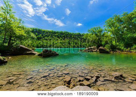 great amazing natural landscape view of Niagara escarpment lagoon on sunny beautiful day