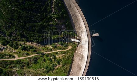 Aerial view of Dam of Vilarinho da Furna