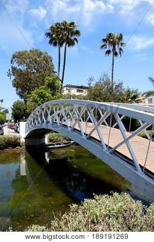 Bridge in the Venice canals of Southern California