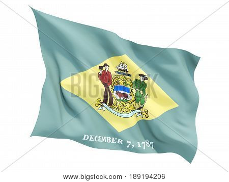 Flag Of Delaware, Us State Fluttering Flag