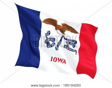 Flag Of Iowa, Us State Fluttering Flag