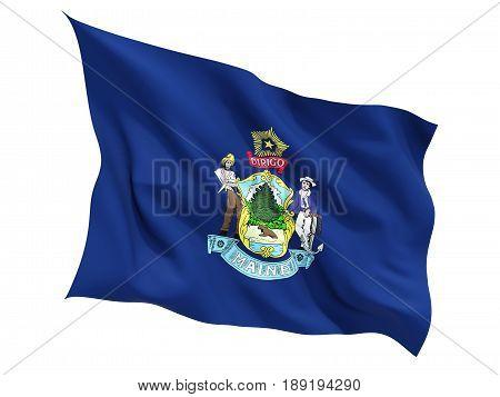 Flag Of Maine, Us State Fluttering Flag