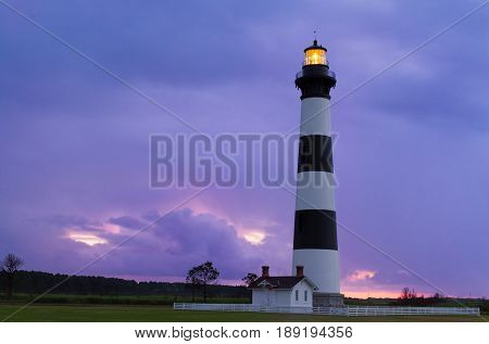 Lighthouse at Dawn - The Bodie Island Light stands over Cape Hatteras National Seashore on North Carolina's Outer Banks.