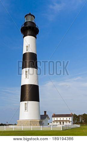 The black and white striped Bodie Island Lighthouse stands in Cape Hatteras National Seashore on North Carolina's Outer Banks.