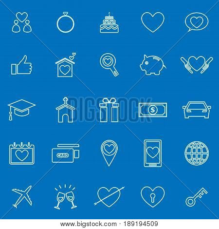 Family line color icons on blue background, stock vector