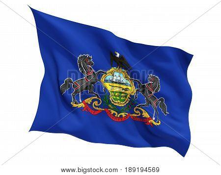 Flag Of Pennsylvania, Us State Fluttering Flag