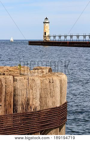 Manistee North Pierhead Lighthouse on the coast of Lake Michigan