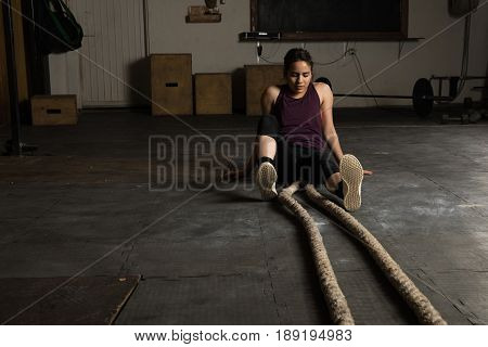 Exhausted Woman In A Cross-training Gym