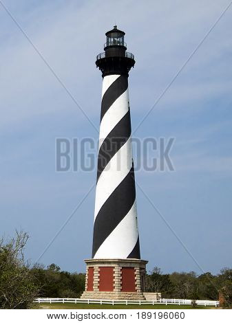 The Cape Hatteras LIghthouse in Cape Hatteras National Seashore on North Carolina's Outer Banks