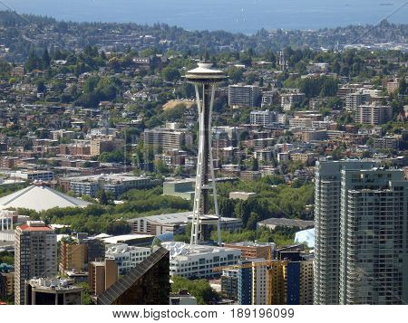 SEATTLE WASHINGTON - JUNE 25 2016 - View of the Seattle Washington skyline and iconic Space Needle during day.