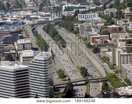 SEATTLE-- JUNE 25: Aerial view of downtown Seattle buildings Union Lake and I-5 Highway on June 25 2016 in Seattle WA.