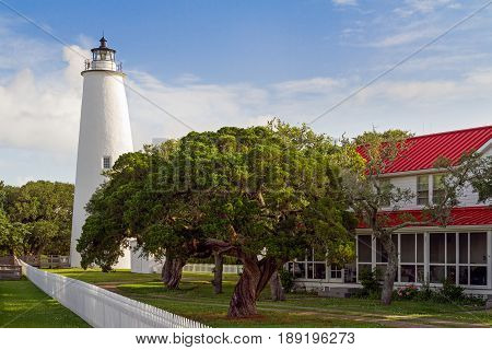 The Ocracoke Lighthouse and Keeper's Dwelling on Ocracoke Island of North Carolina's Outer Banks.