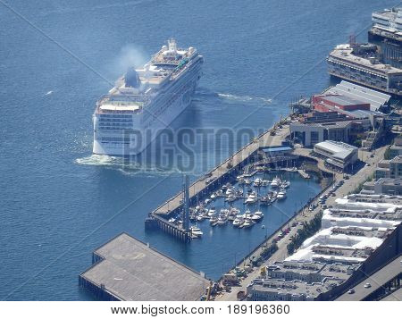 SEATTLE - JUNE 25: Aerial view of Norwegian Cruise ship leaving port in Seattle Seattle in June 25 2016.
