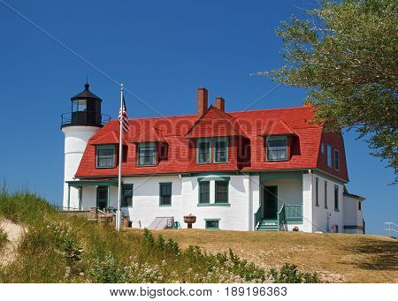 Michigan's Point Betsie Lighthouse on Lake Michigan