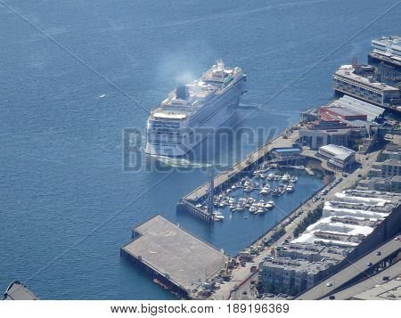 SEATTLE - JUNE 25: Aerial view of Norwegian Cruise ship leave port in Seattle Seattle in June 25 2016.