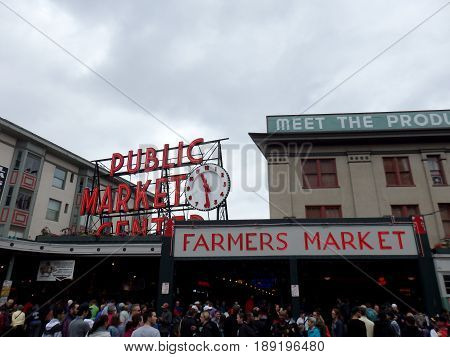 SeattleWashingtonusa. 06/25/16: People explore Pike place Public Farmers market at during the day.