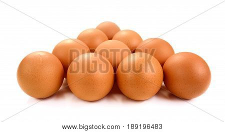 Organic fresh eggs isolated on white background