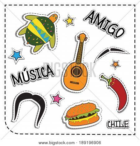 Mexican party sticker applique. Mexico style. Vector illustration set. musica means music. amigo means friend , chile means chilli pepper.
