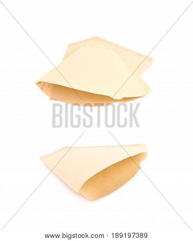 Paper coffee filter isolated over the white background, set of two different foreshortenings