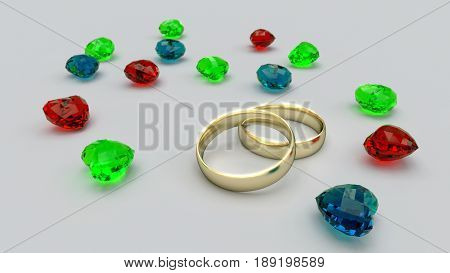 Gold rings end gems hearths abstract background illustration