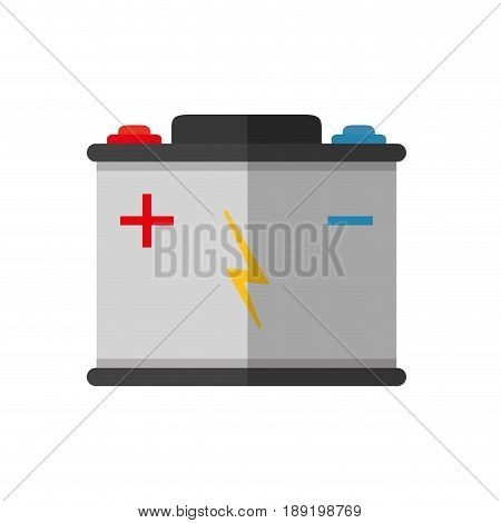 car battery icon over white background. colorful design. vector illustration