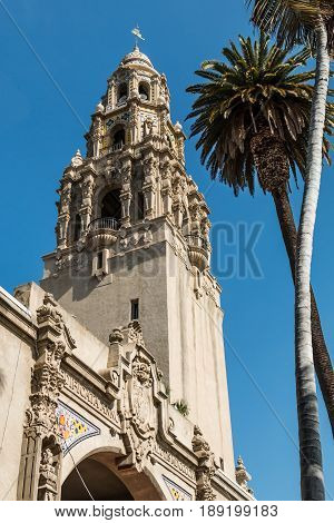 SAN DIEGO, CALIFORNIA - APRIL 28, 2017:  The historic California Tower, a Balboa Park icon which was built for the 1915-1916 Panama-California Exposition and located at the Cabrillo Bridge entrance.