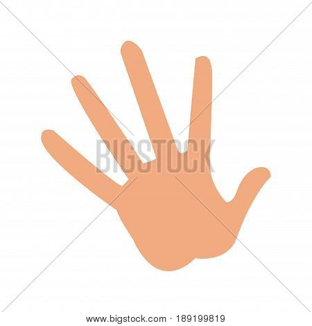 Cartoon hand showing the five fingers. Vector illustration isolated